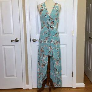 LULU'S Lush Glenwood Aqua Floral Hi Low Maxi Dress
